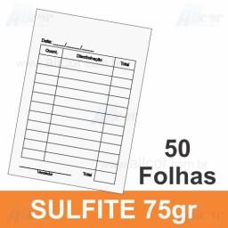 Bloco 50 fls 01 via - 01 cor -   7,5x10,0cm - Papel sulfite 75g - F64 13000