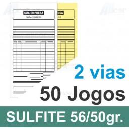 Talão 50 Jogos em 2 vias - 1 cor - 10x21cm - Papel sulfite 56gr/50gr - F24 17582