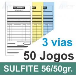 Talão 50 Jogos em 3 vias - 1 cor - 10x21cm - Papel sulfite 56gr/50gr - F24 17674