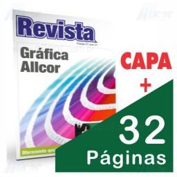 Revista 20,5 x 27,0cm Fechada - Capa 4x4 cores em couché 150gr e Miolo 4x4 cores 32 páginas couché 90g - F8 12228