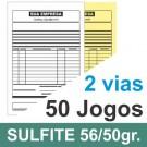 Talão 50 Jogos em 2 vias - 1 cor - 21x30cm - Papel sulfite 56gr/50gr - F8 12954