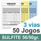 Talão 50 Jogos em 3 vias - 1 cor - 10x15cm - Papel sulfite 56gr/50gr - F32 12438