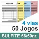 Talão 50 Jogos em 4 vias - 1 cor - 10x15cm - Papel sulfite 56gr/50gr - F32 12440