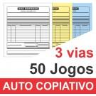 Talão 03 vias - 01 cor - 200x220mm - Papel Auto Copiativo 53gr, pedido, orçamentos, comandas, ordens de serviço