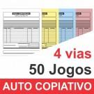 Talão 04 vias - 01 cor - 200x220mm - Papel Auto Copiativo 53gr, pedido, orçamentos, comandas, ordens de serviço