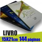 Livro 15,0 x 21,0cm - Capa Colorida(acabamento Especial) e Miolo 1 cor(preto) 144 páginas