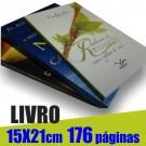 Livro 15,0 x 21,0cm - Capa Colorida(acabamento Especial) e Miolo 1 cor(preto) 176 páginas