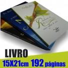 Livro 15,0 x 21,0cm - Capa Colorida(acabamento Especial) e Miolo 1 cor(preto) 192 páginas