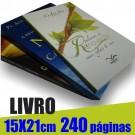 Livro 15,0 x 21,0cm - Capa Colorida(acabamento Especial) e Miolo 1 cor(preto) 240 páginas